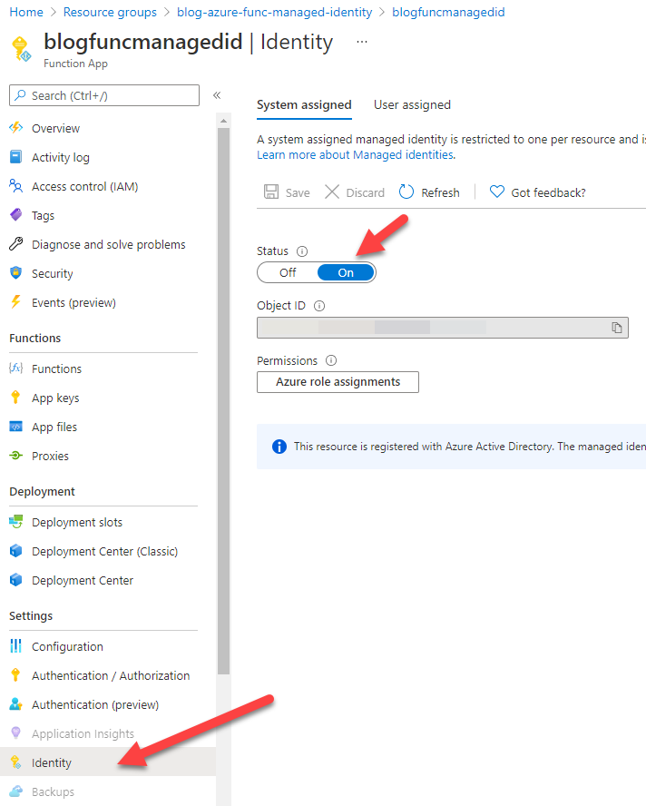 Azure Portal - enable managed identity