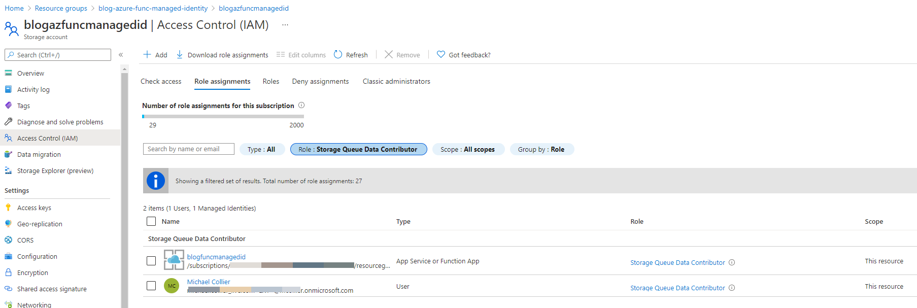 Azure Portal - set the function identity to the needed role