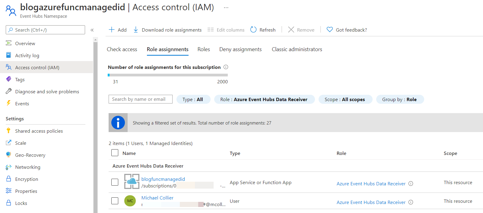 Azure Portal- setting RBAC assignment for Event Hub namespace
