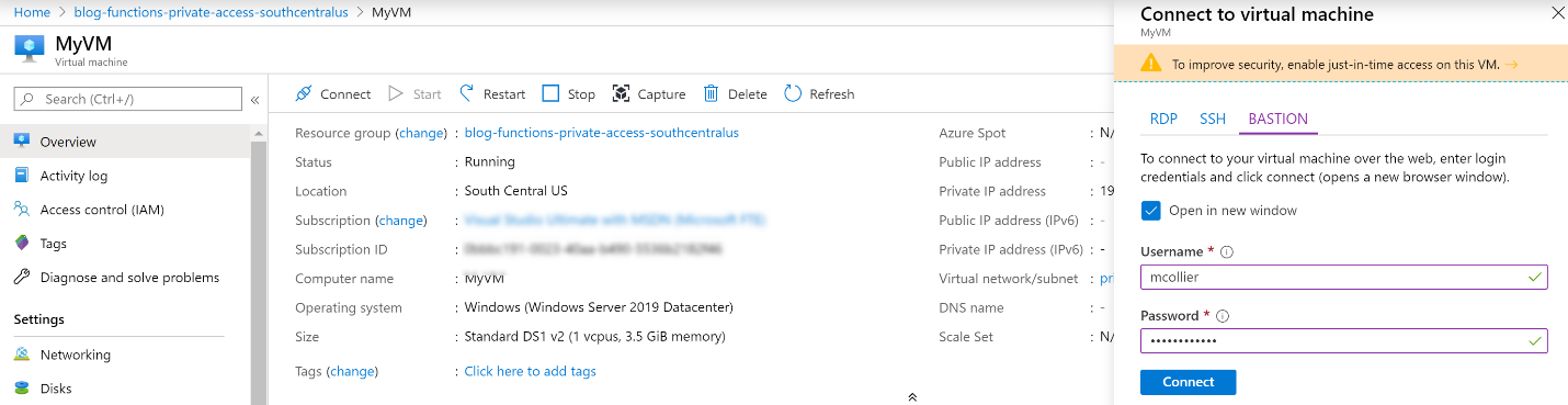 Connect to VM via Azure Bastion