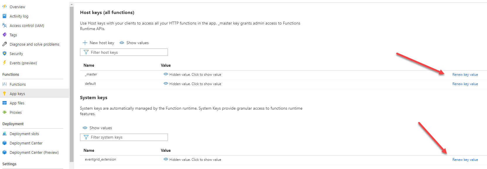 Azure portal to generate new function keys